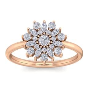 1/2 Carat Round Diamond Flower Ring In 14 Karat Rose Gold