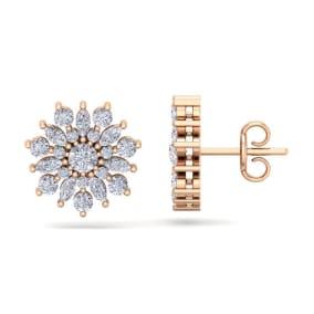 1 Carat Round Diamond Flower Stud Earrings In 14 Karat Rose Gold