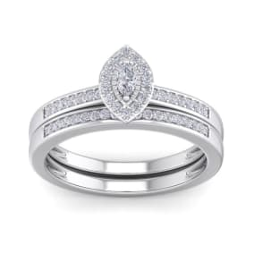 1/4 Carat Pave Marquise Shape Halo Diamond Bridal Set in Sterling Silver