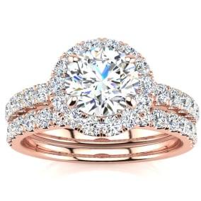 2 Carat Round Floating Halo Diamond Bridal Set in 14k Rose Gold.  Our Most Popular 2 Carat Bridal Set!
