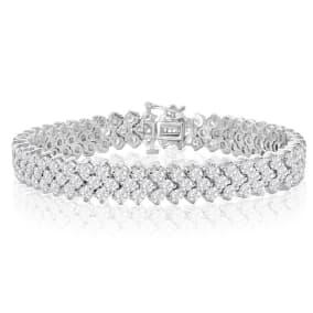 13 Carat Three Row Diamond Mens Tennis Bracelet In 14 Karat White Gold, 8 Inches