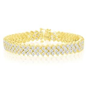 13 Carat Three Row Diamond Mens Tennis Bracelet In 14 Karat Yellow Gold, 8 Inches