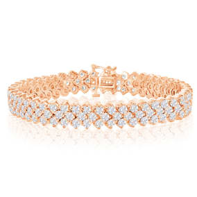 13 Carat Three Row Diamond Mens Tennis Bracelet In 14 Karat Rose Gold, 8 Inches