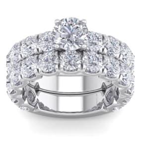 6 Carat Round Shape Diamond Bridal Set In 14 Karat White Gold