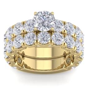 6 Carat Round Shape Diamond Bridal Set In 14 Karat Yellow Gold