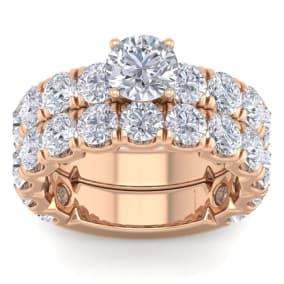 6 Carat Round Shape Diamond Bridal Set In 14 Karat Rose Gold
