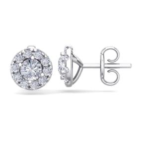 2 1/2 Carat Halo Diamond Stud Earrings In 14 Karat White Gold. Brand New Fantastic Martini Halos!