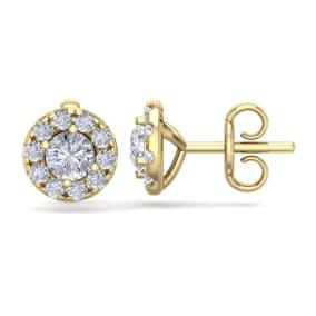 2 1/2 Carat Halo Diamond Stud Earrings In 14 Karat Yellow Gold. Brand New Fantastic Martini Halos!