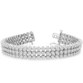9 Carat Three Row Diamond Mens Tennis Bracelet In 14 Karat White Gold, 8 Inches
