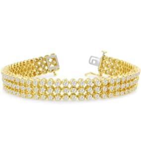 9 Carat Three Row Diamond Mens Tennis Bracelet In 14 Karat Yellow Gold, 8 Inches