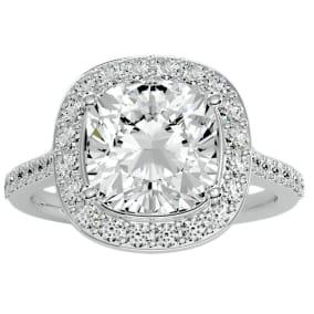 5 1/2 Carat Cushion Cut Halo Diamond Engagement Ring In 14 Karat White Gold