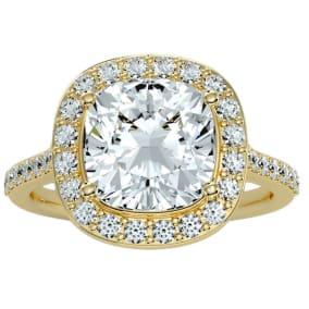 5 1/2 Carat Cushion Cut Halo Diamond Engagement Ring In 14 Karat Yellow Gold