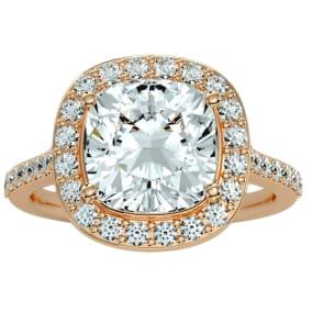 5 1/2 Carat Cushion Cut Halo Diamond Engagement Ring In 14 Karat Rose Gold