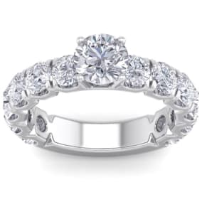 3 1/2 Carat Round Shape Diamond Engagement Ring In 14 Karat White Gold. Incredible, Large Engagement Ring, Eternity Style!
