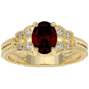 1 1/2 Carat Oval Shape Garnet and Diamond Ring In 10 Karat Yellow Gold