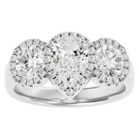 2 1/2 Carat Pear Shape Halo Diamond Three Stone Ring In 14 Karat White Gold