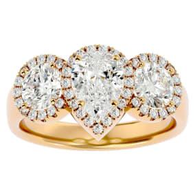 2 1/2 Carat Pear Shape Halo Diamond Three Stone Ring In 14 Karat Yellow Gold