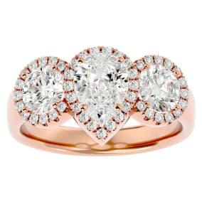 2 1/2 Carat Pear Shape Halo Diamond Three Stone Ring In 14 Karat Rose Gold
