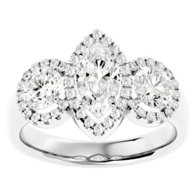 2 1/2 Carat Marquise Shape Halo Diamond Three Stone Ring In 14 Karat White Gold
