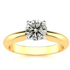 1 Carat Round Colorless Diamond Solitaire Ring in 14K Yellow Gold. Brand New Amazing Deal!