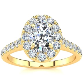 1 1/2 Carat Oval Shape Halo Moissanite Engagement Ring in 14k Yellow Gold. Fiery Amazing Moissanite!