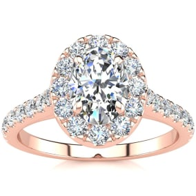 1 1/2 Carat Oval Shape Halo Moissanite Engagement Ring in 14k Rose Gold. Fiery Amazing Moissanite!