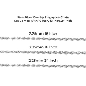 Fine Silver Overlay Singapore Necklace  Set Comes With 16 Inch, 18 Inch, 24 Inch Lengths!