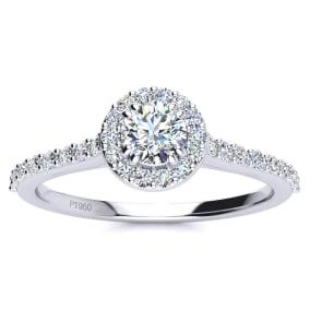 1/2 Carat Halo Diamond Engagement Ring in Platinum