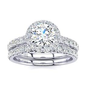 1 1/2 Carat Pave Halo Diamond Bridal Set in Platinum