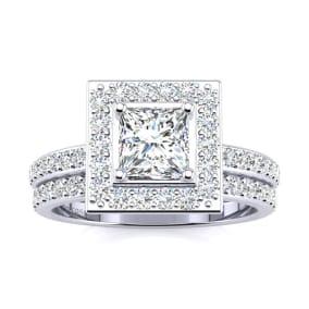 1 1/2 Carat Princess Cut Floating Pave Halo Diamond Bridal Set in Platinum