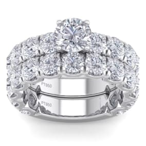 6 Carat Round Shape Diamond Bridal Set In Platinum. Gorgeous, Classic, Important Bridal Set Of A Lifetime!