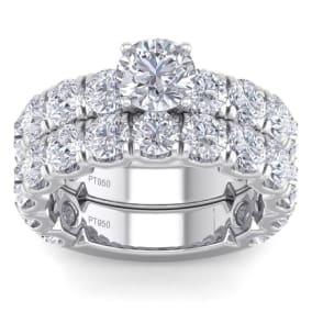 6 Carat Round Shape Diamond Bridal Set In Platinum