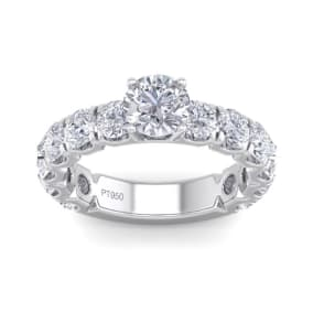 3 1/2 Carat Round Shape Diamond Engagement Ring In Platinum. Incredible, Large Engagement Ring, Eternity Style!
