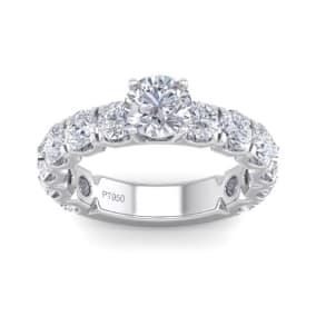 3 1/2 Carat Round Shape Diamond Engagement Ring In Platinum