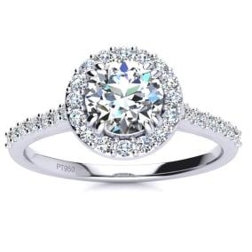 1 Carat Round Halo Diamond Engagement Ring in Platinum.  Incredible Platinum Engagement Ring At A Fabulous Price!