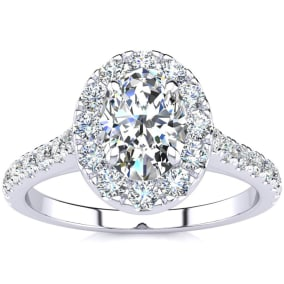 1 1/2 Carat Oval Shape Halo Diamond Engagement Ring in 14k White Gold