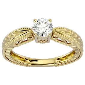 1/2 Carat Diamond Solitaire Engagement Ring with Tapered Etched Band In 14 Karat Yellow Gold
