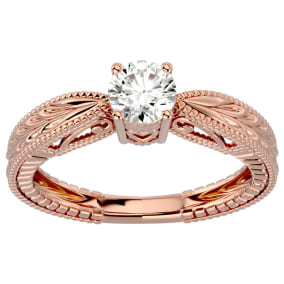 1/2 Carat Diamond Solitaire Engagement Ring with Tapered Etched Band In 14 Karat Rose Gold