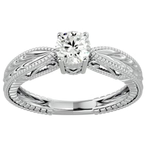 1/2 Carat Diamond Solitaire Engagement Ring with Tapered Etched Band In 14 Karat White Gold