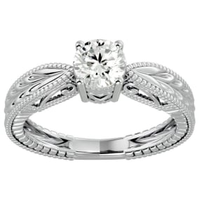 3/4 Carat Diamond Solitaire Engagement Ring with Tapered Etched Band In 14 Karat White Gold