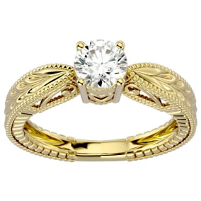3/4 Carat Diamond Solitaire Engagement Ring with Tapered Etched Band In 14 Karat Yellow Gold