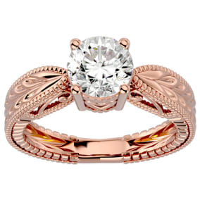 1 1/2 Carat Diamond Solitaire Engagement Ring with Tapered Etched Band In 14 Karat Rose Gold