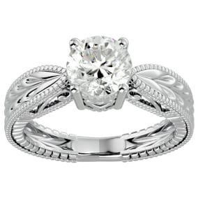 1 1/2 Carat Diamond Solitaire Engagement Ring with Tapered Etched Band In 14 Karat White Gold