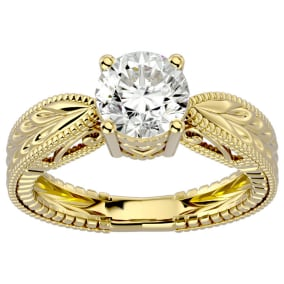 1 1/2 Carat Diamond Solitaire Engagement Ring with Tapered Etched Band In 14 Karat Yellow Gold