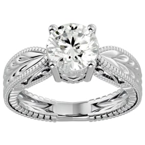 2 Carat Diamond Solitaire Engagement Ring with Tapered Etched Band In 14 Karat White Gold