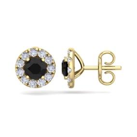 2 1/2 Carat Black Diamond Halo Stud Earrings In 14 Karat Yellow Gold