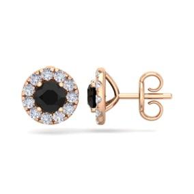 2 1/2 Carat Black Diamond Halo Stud Earrings In 14 Karat Rose Gold