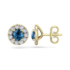 2 1/2 Carat Blue Diamond Halo Stud Earrings In 14 Karat Yellow Gold