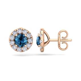 2 1/2 Carat Blue Diamond Halo Stud Earrings In 14 Karat Rose Gold