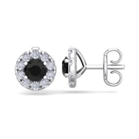 1 1/2 Carat Black Diamond Halo Stud Earrings In 14 Karat White Gold